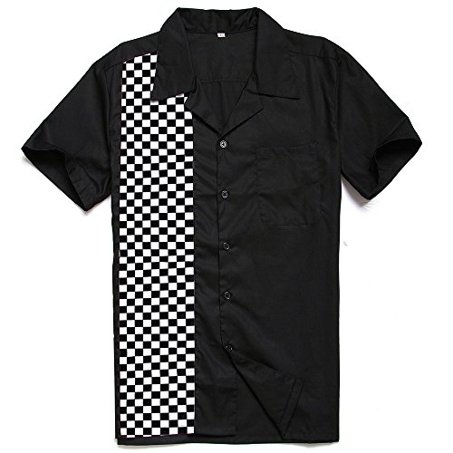 Anchor MSJ Men's 50s Male Clothing Rockabilly Style Casual Cotton Blouse Mens Fifties Bowling Dress Shirts (L) Black (50 Retro Clothes)
