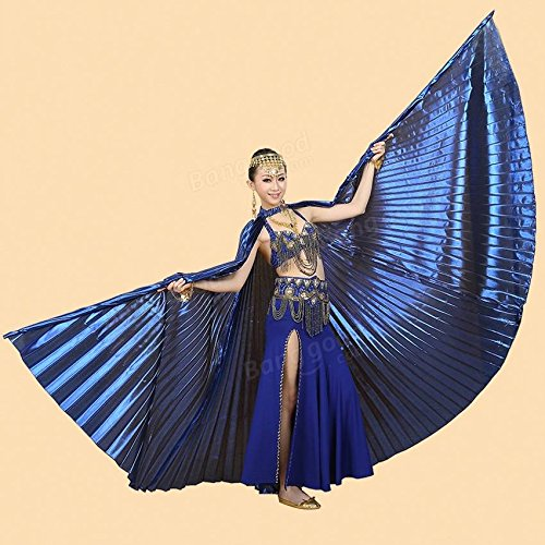 Bazaar 360 Degree Belly Dance Wing Fan Indian Dance Wings with Stick Dance Performance Acessaries