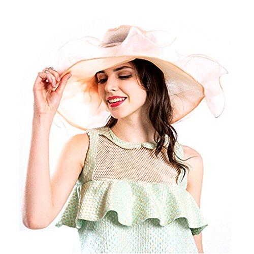 97650144997a5 Harmony Life Women Foldable Organza Church Derby Hat Ruffles Wide Brim