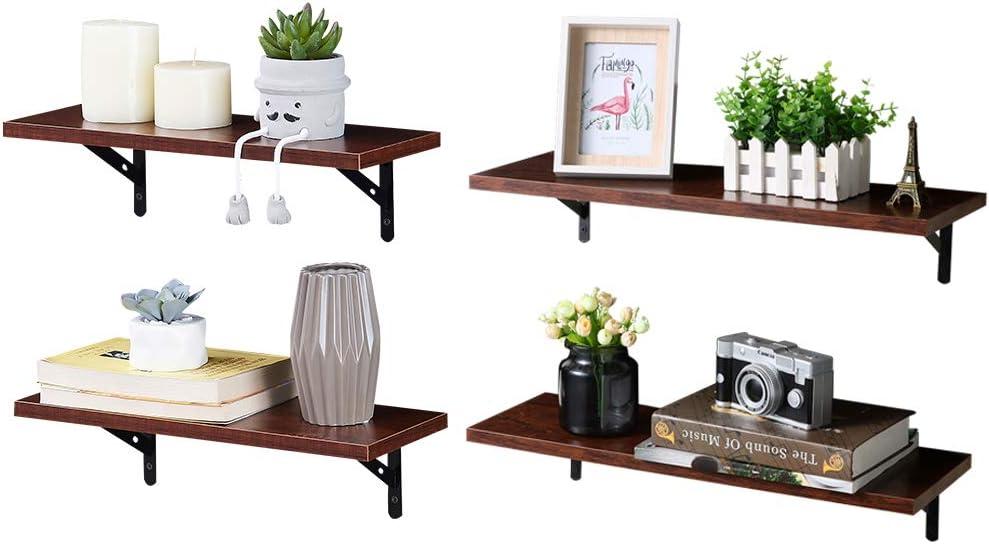 SUPERJARE Wall Mounted Floating Shelves, Set of 4, Display Ledge, Storage Rack for Room/Kitchen/Office - Walnut