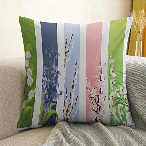 Flower Microfiber Spring Flowers on Different Backgrounds Lily Blossoms Valley Primrose Floral Print Sofa Cushion Cover Bedroom car Decoration W16 x L24 Inch - Martex Blossoms Baby