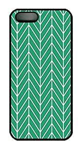Covers Emerald Green Trendy Patterns Herringbone Chevron Pattern HAC1014238 Custom PC Hard Case Cover for iPhone 5/5S Black