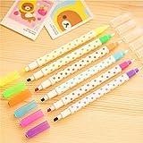 Katoot@ 6 X cartoon dot diamond highlighter pen erasable color pens marker pen canetas escolar material school supplies