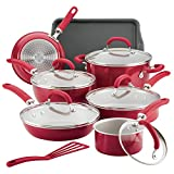 Rachael Ray 12147 13-Piece Aluminum Cookware Set, Red Shimmer