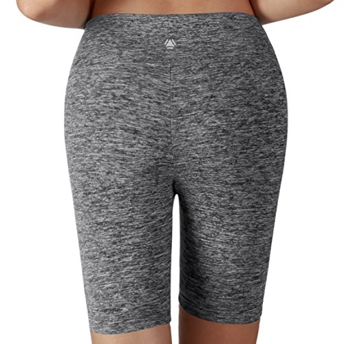 Yoga Reflex Women's Tummy Control Fitness Workout Running Yoga Shorts (S-3XL) , Charcoalheather , Medium