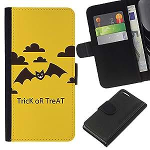 Apple iPhone 5C Modelo colorido cuero carpeta tirón caso cubierta piel Holster Funda protección - Halloween Trick Treat Bat