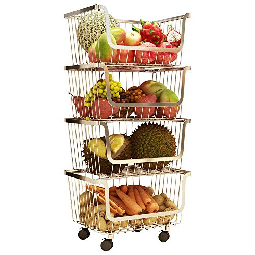 4 Layer Metal Kitchen Storage Organizer Rack Stackable Fruit Vegetable Basket Floor Standing Utility Trolley Cart Shelf for Kitchenware, Household Items, Food, Snacks, Bottles, Toys, Toiletries Holder (Vegetable Storage Baskets)