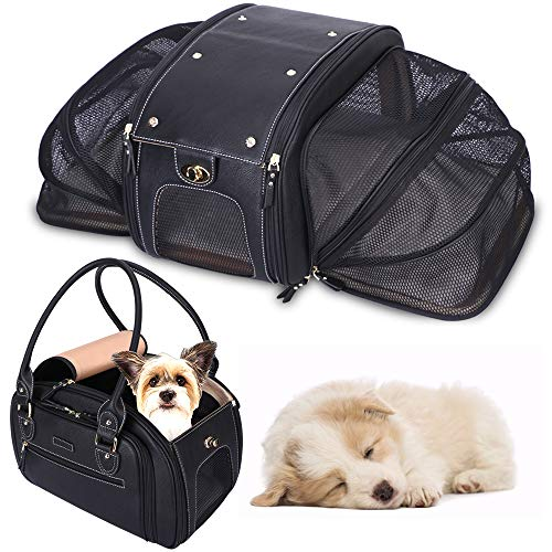 PetsHome Dog Carrier, Pet Carrier, Cat Carrier, Foldable Waterproof Premium PU Leather Pet Purse Portable Bag Carrier…