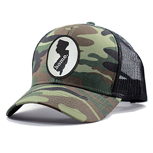Homeland Tees Men's New Jersey Home State Army Camo Trucker Hat - Black