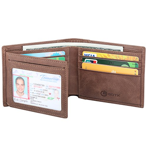 Men's Wallet - RFID Blocking Cowhide Leather Vintage Trifold Wallet (Coffee) Mens Leather Billfold