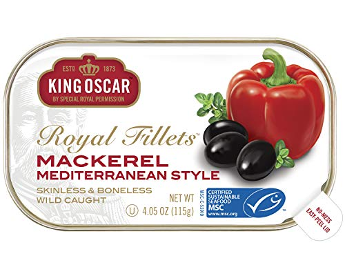 King Oscar Skinless and Boneless Mediterranean Style Mackerel Fillets, 4.05 Ounce (Pack of 12) ()