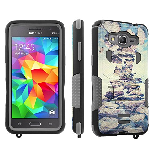 ([SkinGuardz] Case for SAMSUNG GALAXY GRAND PRIME G530 Black/Gray [ShockProof Armor Tough Case with KickStand] - [Rustic Rocks])