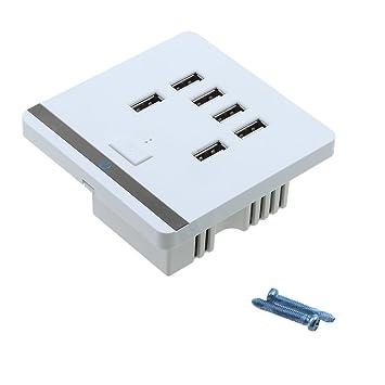 MagiDeal Soporte Panel de Pared con Puerta Conector de USB Cargador Enchufe de Corriente 3,4A 6 Interruptor