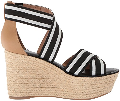 free shipping low price fee shipping Tommy Hilfiger Women's Theia Espadrille Wedge Sandal Black/White outlet best place shop offer cheap online R8jRq3