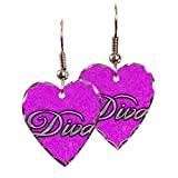 Earring Heart Charm Pink Diva Princess