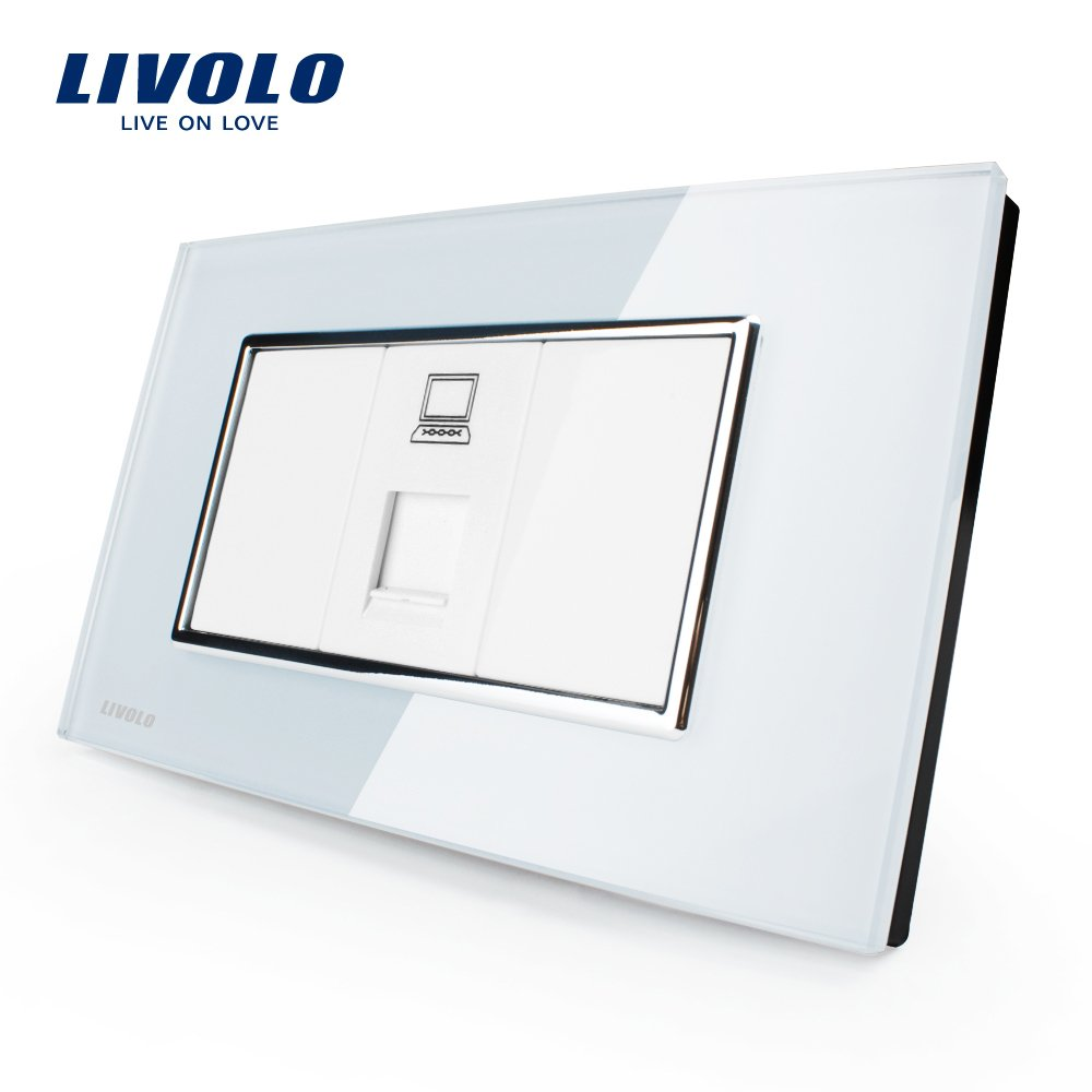 LIVOLO White US Standard 1 Gang Computer Outlet With Luxury Tempered Glass Panel, C391C-81