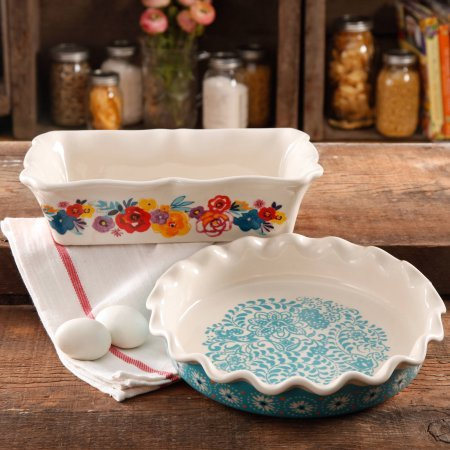 The Pioneer Woman Flea Market Decorated 9'' Ruffle Top Pie Plate and 2.3 Quart Ruffle Top Bakeware by Gibson