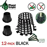 Plant and tree guard and protector for trees, plants, saplings, landscape lights, lamp posts, more; expandable for larger trees and plants; provides protection from trimmers, weed whackers (Black -12)