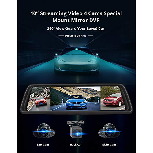 """Alician V9 10"""" Full Touch IPS 4G Android Mirror Car DVR Vehicle Rearview Mirror Camera 270x75x30mm"""