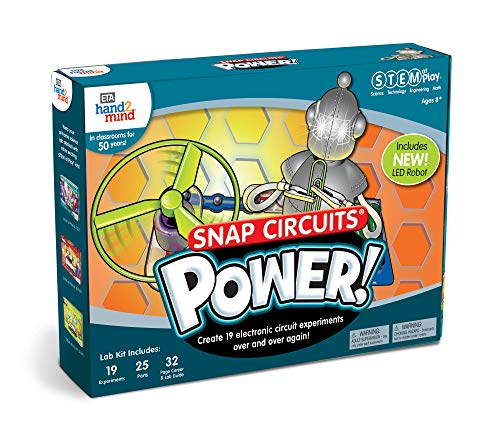51nNm30er%2BL - ETA hand2mind Snap Circuits Power! Kids Science Kits, 19 STEM Experiments & Activities, Light Up A Robot, Learn About Electricity | Gifts for Girls & Boys, Children & Teens | Educational Toy
