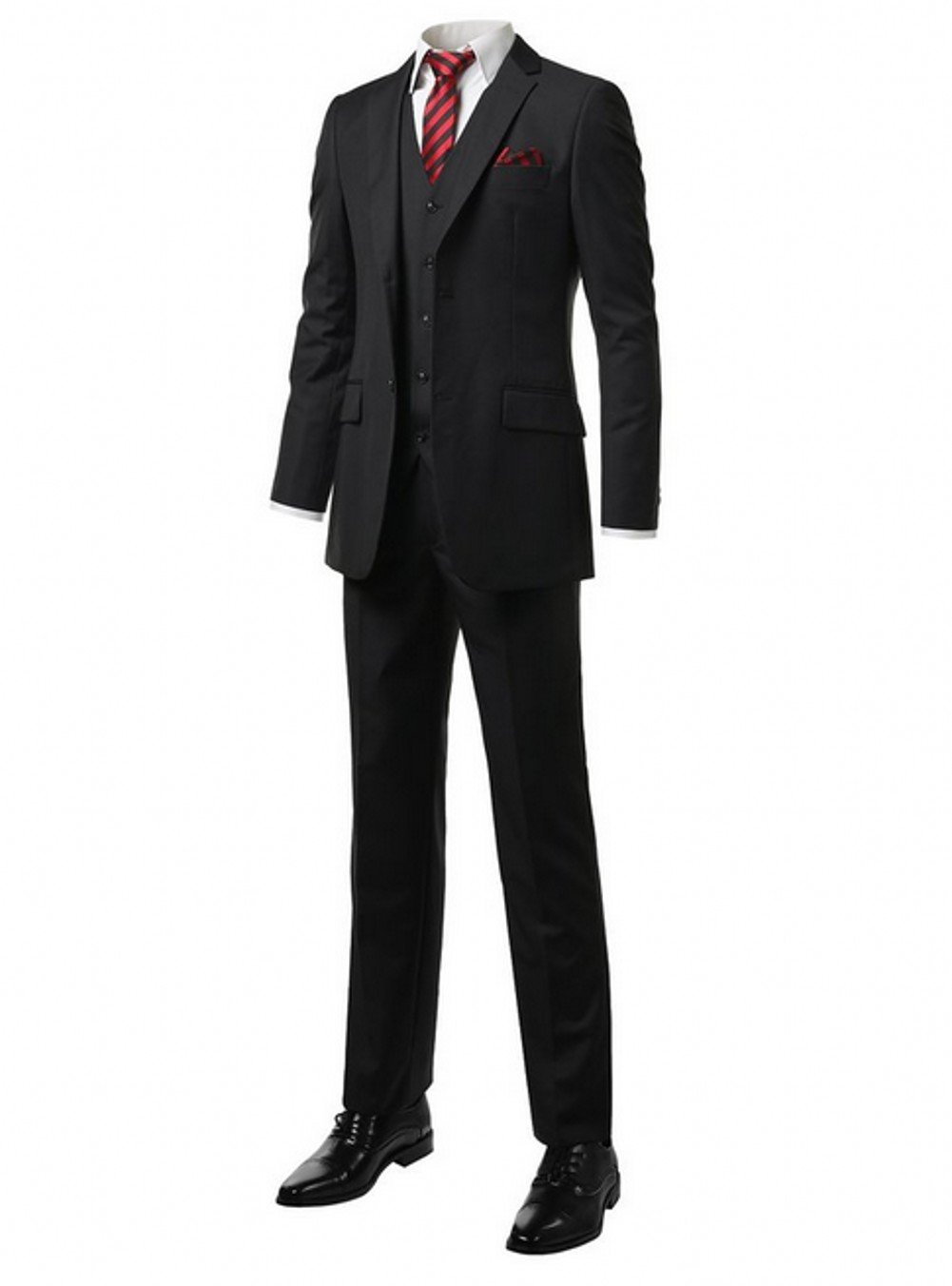 Love Dress Men's Modern Fit 3-Piece Suit Blazer Jacket Tux Vest & Trousers Black L