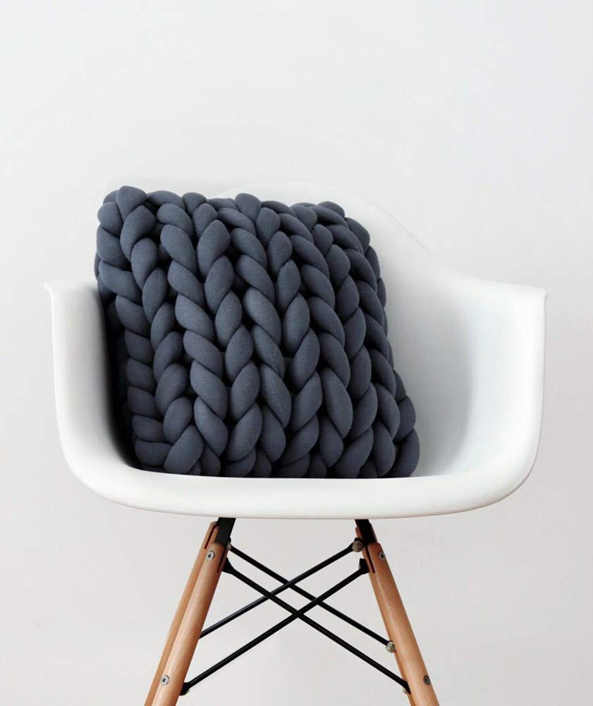 Chunky Yarn Chunky Merino Wool Yarn Super Soft Washable Super Bulky Giant Wool Yarn for Extreme Arm Knitting DIY Throw Sofa Bed Blanket Pillow Pet Bed and Bed Fence (5kg(11lbs), Dark Grey) by NXqilixiang (Image #3)