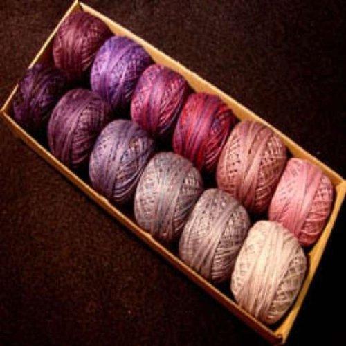 Valdani Perle Cotton Size 12 Embroidery Thread Purple Frenzy Sampler Set by Valdani