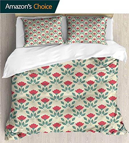 Bedspread Set Queen Size,Box Stitched,Soft,Breathable,Hypoallergenic,Fade Resistant Print,Decorative Quilted 2 Piece Coverlet Set With 2 Pillow Shams-Flower Poppy Bouquets And Corsage (90