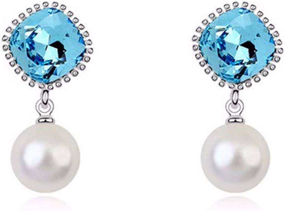 aimaoer Aleación De La Moda Brillantes Pendientes De Cristal Elegante Perla Larga Pendientes Pendientes De La Vendimia Pendientes Mujeres