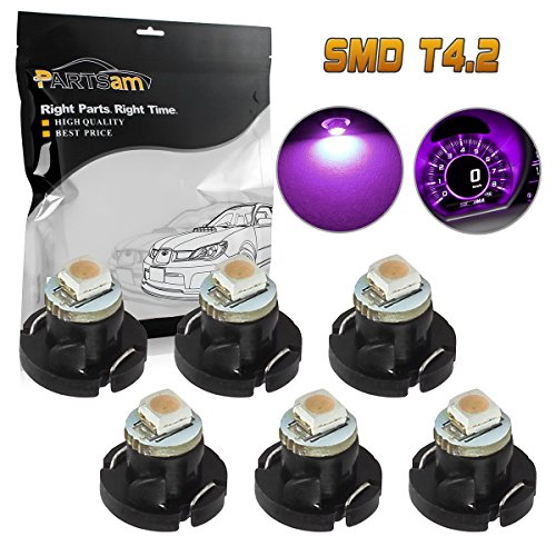 Partsam 6pcs Purple T4 T4.2 Neo Wedge LED Bulbs for Car Truck Auto HVAC AC Climate Heater Controls Radio Switch Replacement Light Bulb 12V 1-3528-SMD 10mm Base