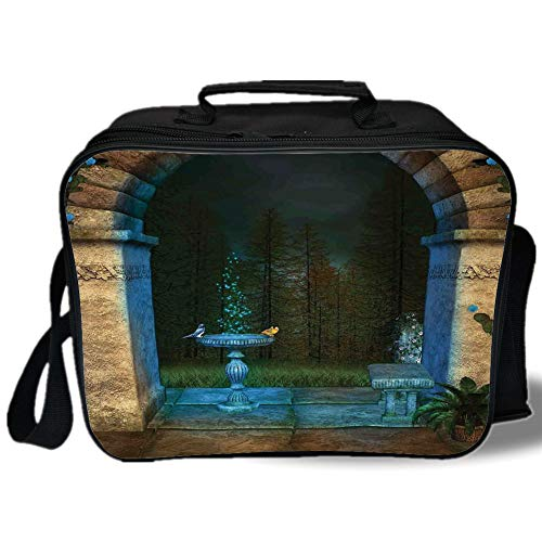 - Gothic 3D Print Insulated Lunch Bag,Forest Landscape from Ancient Archway Birds on Fountain Fairytale Illustration,for Work/School/Picnic,Blue Grey Green