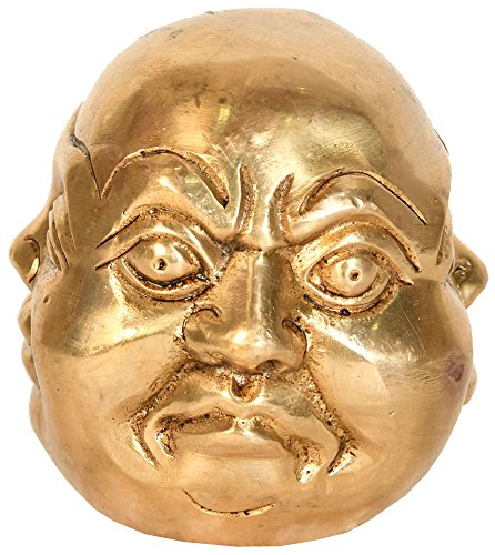 (Four Faced Head of Laughing Buddha (Tibetan Buddhist) - Brass Statue)