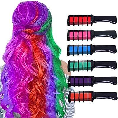 Peines de Tiza de Colores para el Pelo, 6 colores Temporales de Cabello Tinte no tóxico Color de Tiza para niñas y niños Pelo teñido, Fiesta, ...