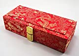 Xuan Oboe Reed Case for 40 Reeds Wooden Box Brocade Cover Red Color