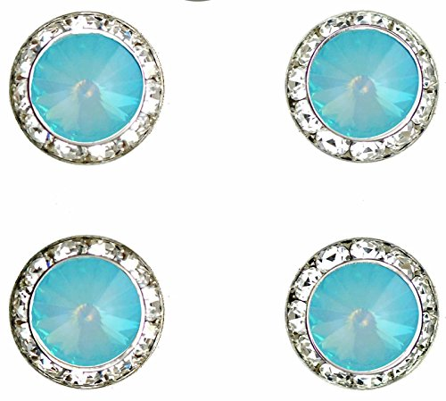 Show Horse Jewelry - Horse jewelry magnetic contestant show number pins Ultra Turquoise Swarovski crystal set of 4