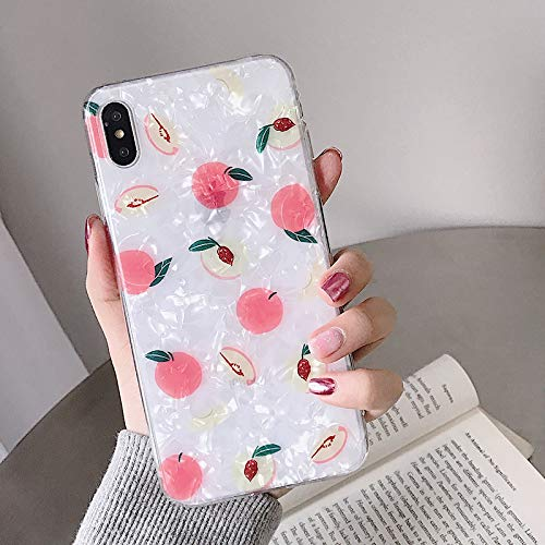Maxlight Fruits Phone Case for iPhone 7 8 Plus X XS XR XS Max Soft TPU Summer Peach Phone Back Cover Conch Shell Cases (A, for iPhone XR)