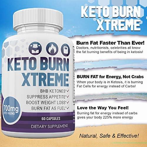 Keto Burn Xtreme - BHB Ketones - Suppress Appetite - Boost Weight Loss - Burn Fat As Fuel - 700mg Keto Blend - 30 Day Supply 7