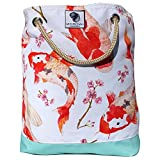 Bucket Beach Bag, Pool Bag or Travel Tote- California Style Water Resistant (Oh Boy Koi)