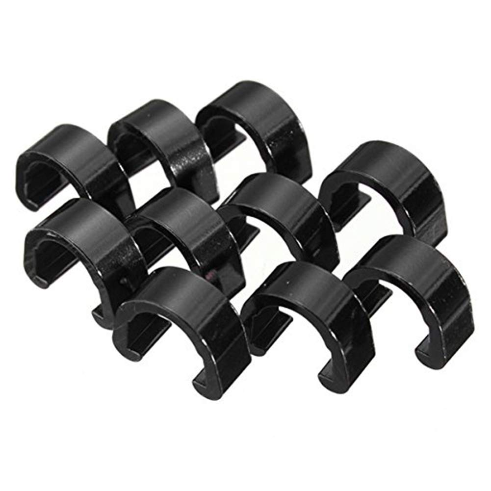 Ouken 10Pcs Bicycle Brake Wire Buckle C-shaped Wire Clamps for Mountain Bike Cable Fixed Housing Guide