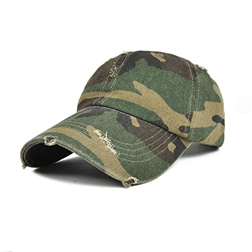 VOBOOM Retro Outdoor Washed Cotton Distressed Baseball Caps BQ035 (Camouflage)