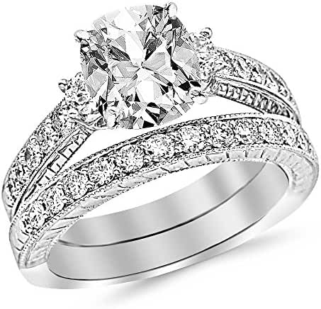 2.03 Cttw 14K White Gold Cushion Cut Three Stone Vintage With Milgrain & Filigree Bridal Set with Wedding Band & Diamond Engagement Ring with a 1 Carat I-J Color SI2-I1 Clarity Center