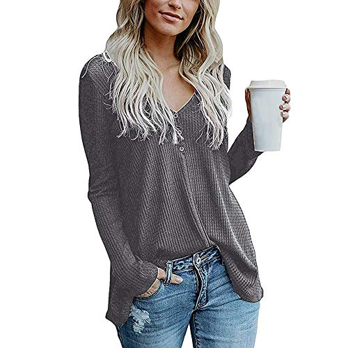 vermers Womens Blouse Womens Loose Knit Tunic Tie Knot Henley Tops Batwing Plain Shirts(S, z-zDark Grey)