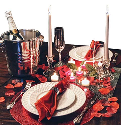 (Romantic Dinner for Two Gift Box | Romantic Anniversary Decorations Gift Basket with Candles and Rose Petals)