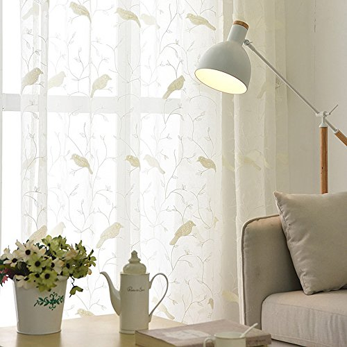 WINYY Rustic Style Window Curtain Embroidered Bird Tulle Voile Fabric Transparent Sheer Curtains Rod Pocket Top for Balcony Living Room Bedroom Kitchen Window Treatments White ,1 Panel W40 x H63 inch