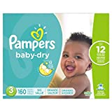 Pampers Baby-Dry Disposable Diapers Size 3, 160 Count, ECONOMY