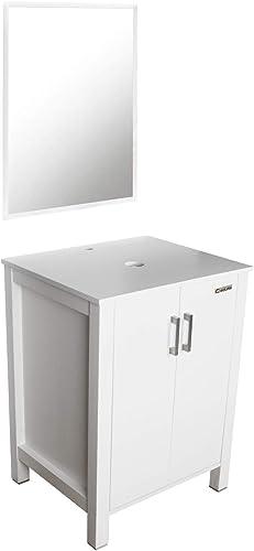 eclife 24 White Bathroom Vanity Cabinet Combo Modern Pedestal Cabinet Set Pedestal Stand Wood W/Mirror Soft Closing Cabinet Doors Set B04W