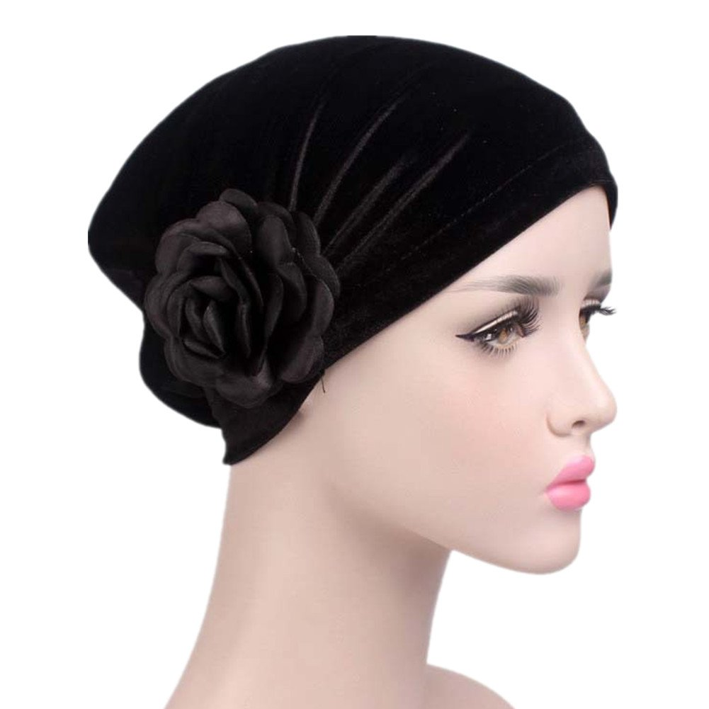 1920s Style Hats beauty YFJH Ruffle Flower Chemo Turban Headband Scarf Beanie Hat Head Wrap Cap for Cancer $10.99 AT vintagedancer.com