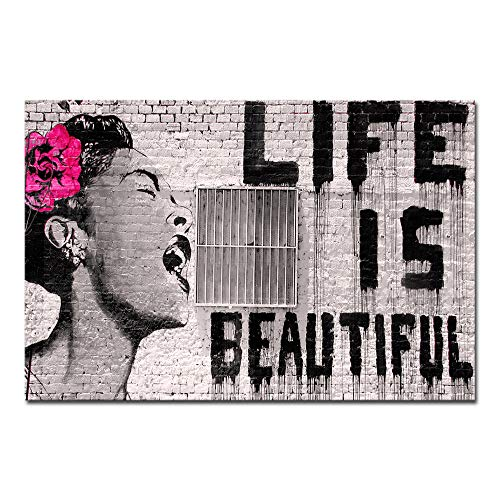 Wieco Art Banksy Life is Beautiful Modern Gallery Wrapped Grey Love Abstract Artwork Paintings Pictures Large Giclee Canvas Prints Wall Art Ready to Hang for Living Room Home Office Decor