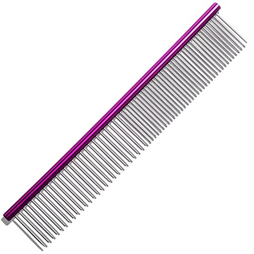 ACTLATI Durable Pets Straight Comb Lightweight Stainless Steel Dog Cats Hair Grooming Tool Purple