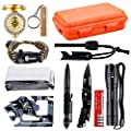 OUTDRSY Wildness Survival Gear Kit with 18-in-1 Versatile Tool Card/Military Flashlight/Paracord Bracelet/Emergency Blanket/Tactical Pen/Compass/Fire Starter/Metal Whistle for Hiking/Camping from OUTDRSY